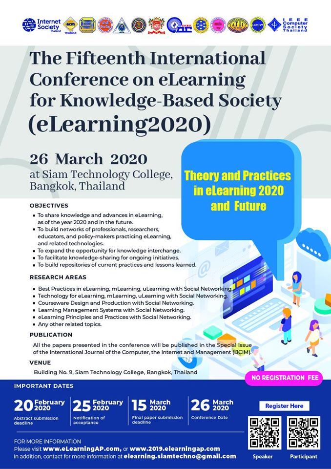 The Fifteenth International Conference on eLearning for Knowledge-Based Society (eLearning2019)